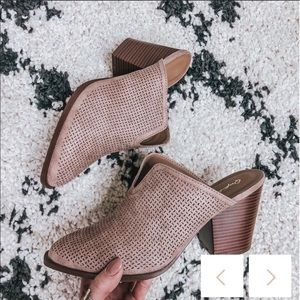 Qupid heeled mules